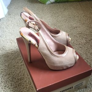 Missoni nude suede & leather platform sling backs